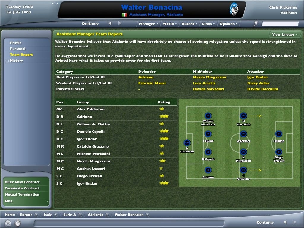 Worldwide Soccer Manager 2006 Windows The Assistant Manager makes his feelings known.