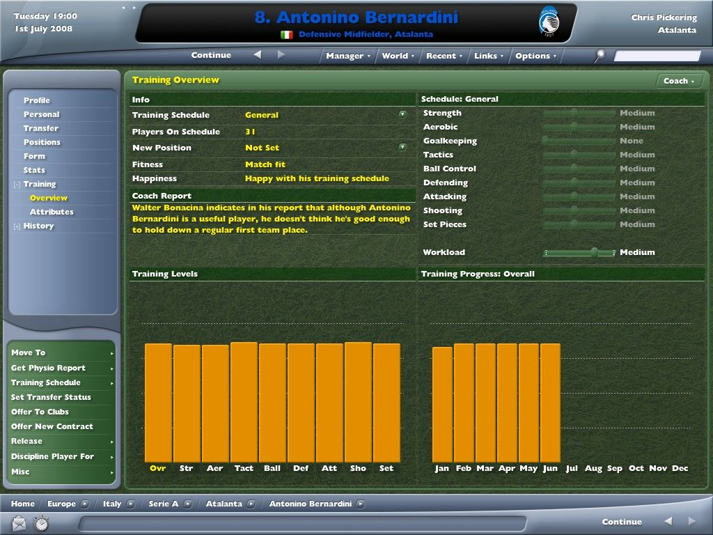 Worldwide Soccer Manager 2006 Windows How well is he doing in training?