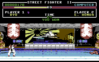 Street Fighter II Commodore 64 Ryu's victory pose