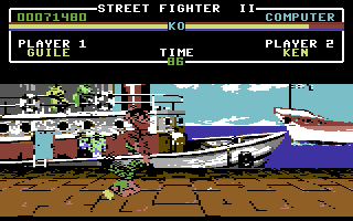 Street Fighter II Commodore 64 Guile's Flash Kick works slightly different in the C64 version