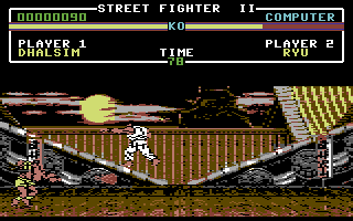 Street Fighter II Commodore 64 Ryu tries to dodge Dhalsim's Yoga Fire