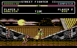 Street Fighter II Commodore 64 Ryu getting hit by Dhalsim's Yoga Flame