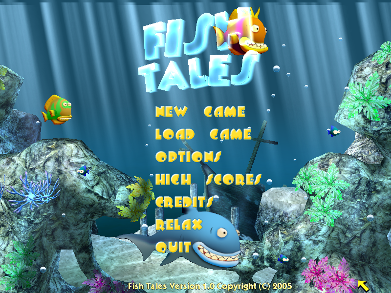 Fish Tales Windows The title screen shows fish swimming around and eating one another.
