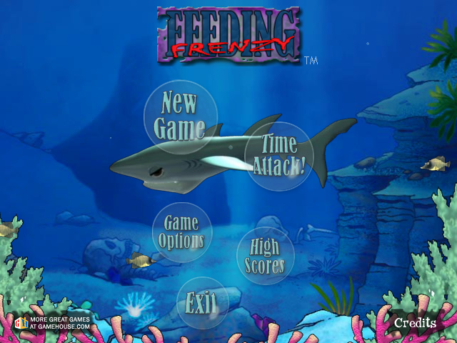Feeding Frenzy Windows Choose to play either the main game, or the fast-paced Time Trial from the main menu.