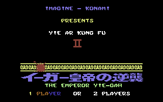 Yie Ar Kung-Fu 2: The Emperor Yie-Gah Commodore 64 Title screen