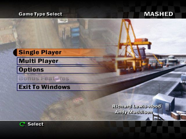 Mashed: Drive to Survive Windows The background of the main menu is animated.