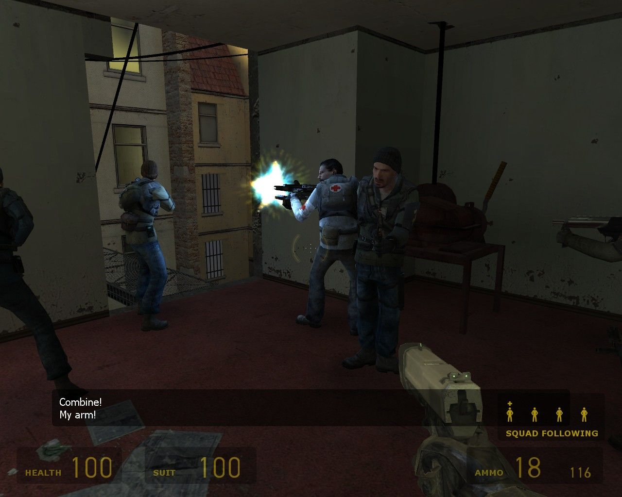 Half-Life 2 Windows Squad following and providing cover.