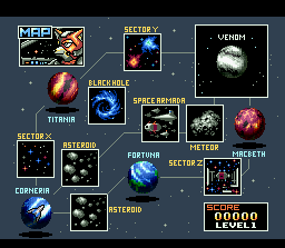 Star Fox SNES Three paths are available, each with varying difficulty.
