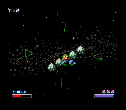 Star Fox SNES Blowing the red asteroid sends the others flying.