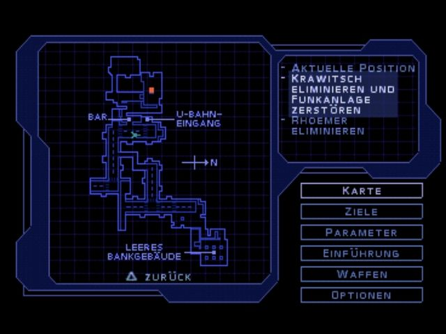 Syphon Filter PlayStation The map always shows the locations of your targets, if they are known