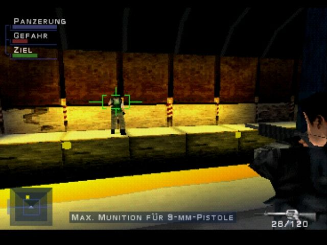 Syphon Filter PlayStation In the subway - the green bar shows your chances to hit an enemy, the red one the chances of getting hit yourself