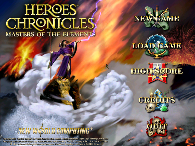 Heroes Chronicles: Masters of the Elements Windows Main menu