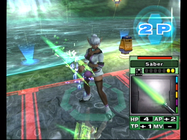 Phantasy Star Online: Episode III - C.A.R.D. Revolution GameCube Animation: my selected weapon materializes.