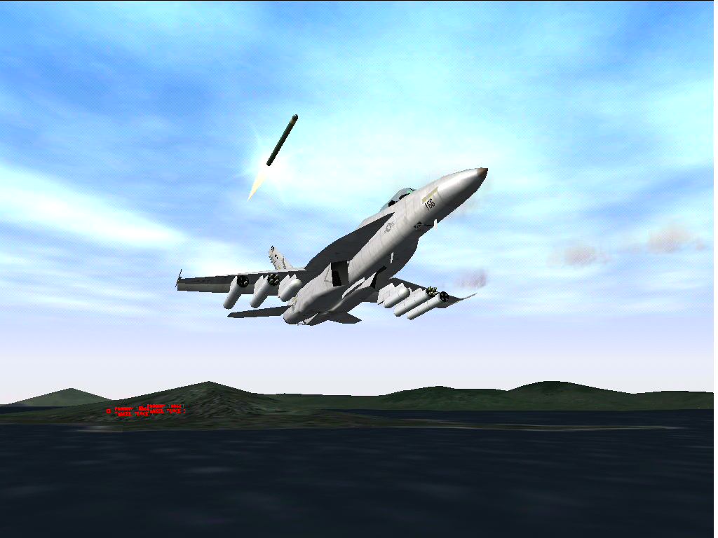 Jane's Combat Simulations: F/A-18 Simulator Windows Rockets launching.