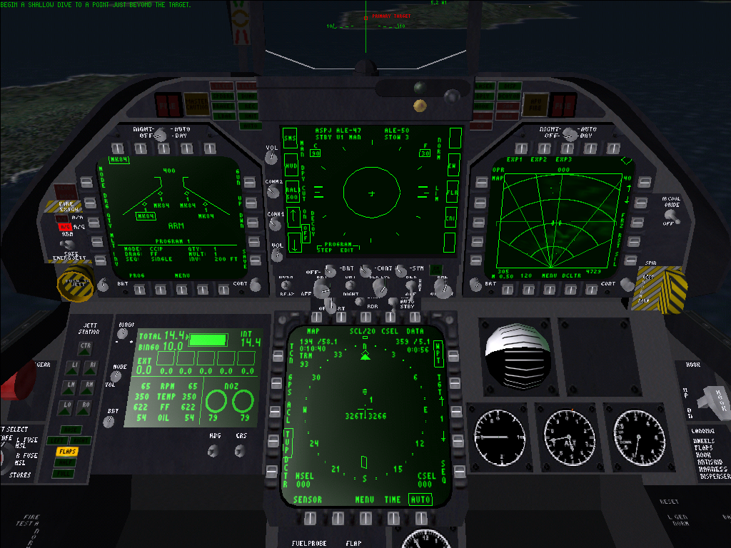 Jane's Combat Simulations: F/A-18 Simulator Windows Cockpit overview