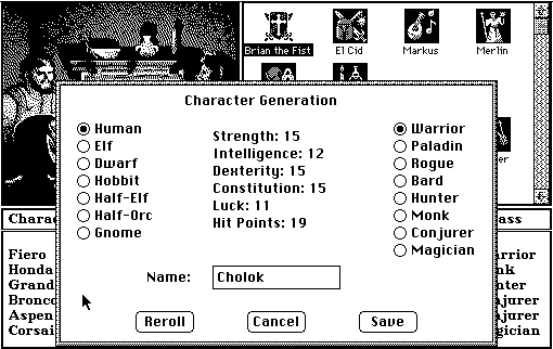 Tales of the Unknown: Volume I - The Bard's Tale Macintosh Character generation