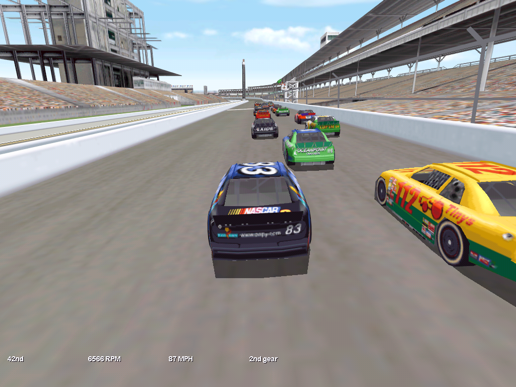 NASCAR Racing 3 Windows Chase cam view during race at Indianapolis.