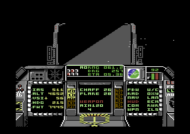 F-16 Combat Pilot Commodore 64 I've taken damage, the HUD is inoperable.