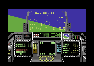 F-16 Combat Pilot Commodore 64 Locked on the enemy fighter.