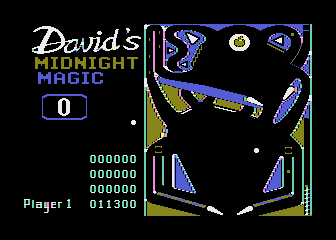 David's Midnight Magic Atari 8-bit A game of pinball in progress (1982 Broderbund release)