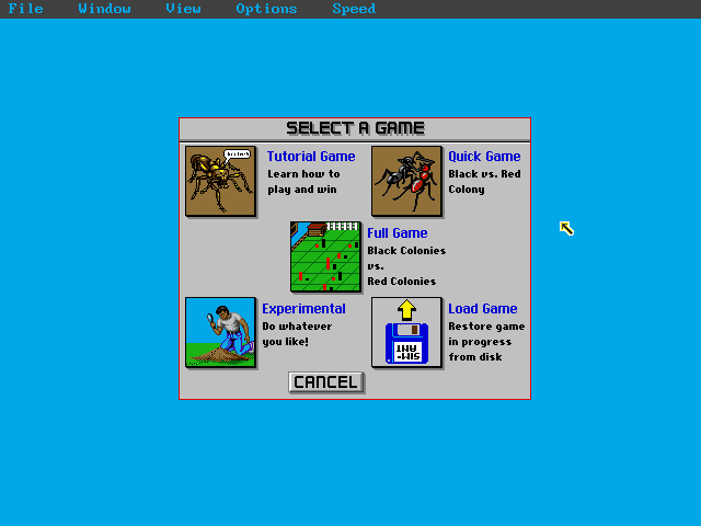 SimAnt: The Electronic Ant Colony DOS Main menu