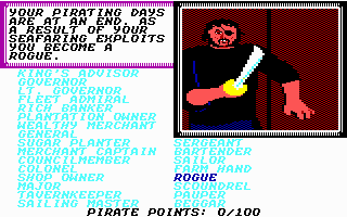 Sid Meier's Pirates! Commodore 64 Or if you do bad, a bum on the street!