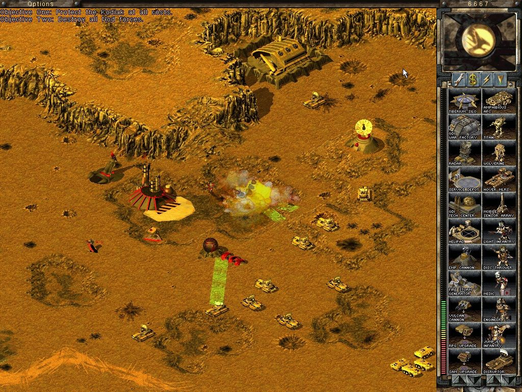 Command & Conquer: Tiberian Sun Windows A group of ten GDI Disruptors destroying the remaining buildings of a NOD base.
