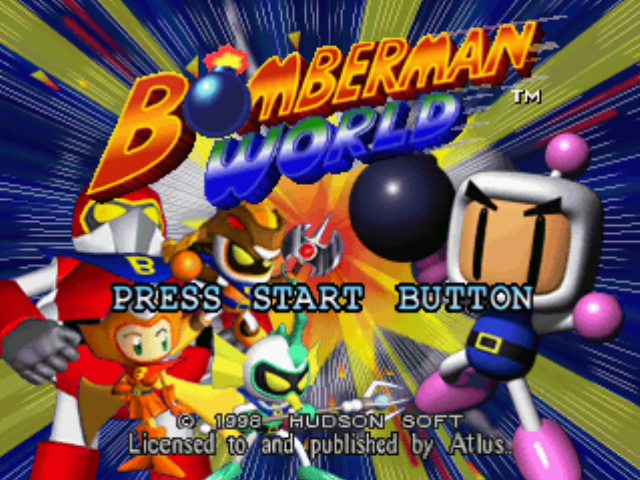 Bomberman World PlayStation Title screen.