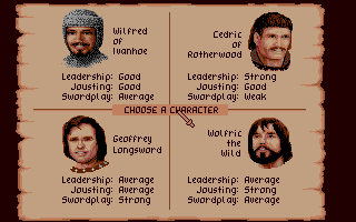 Defender of the Crown Atari ST Choose your Saxon lord to play as.