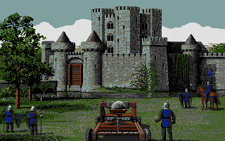 Defender of the Crown Atari ST Laying siege to a Norman castle.