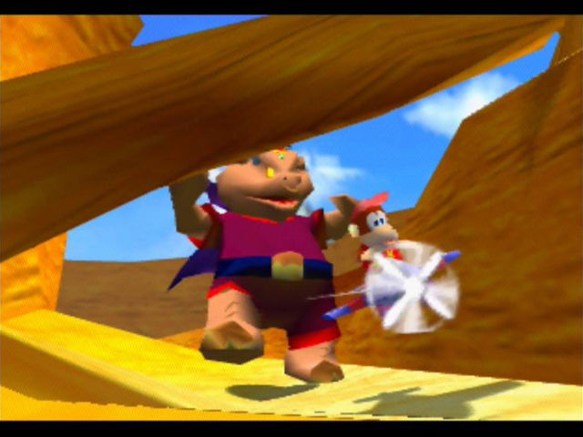 Diddy Kong Racing Nintendo 64 Wizpig, the villain of the scene, chases after Diddy in the intro