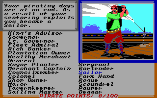 Sid Meier's Pirates! PC Booter Retirement from your days as a pirates... Guess I didn't do so well...