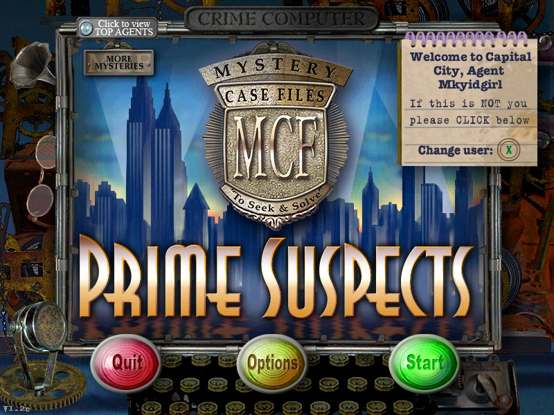 Mystery Case Files: Prime Suspects Windows Title Screen/Main Menu
