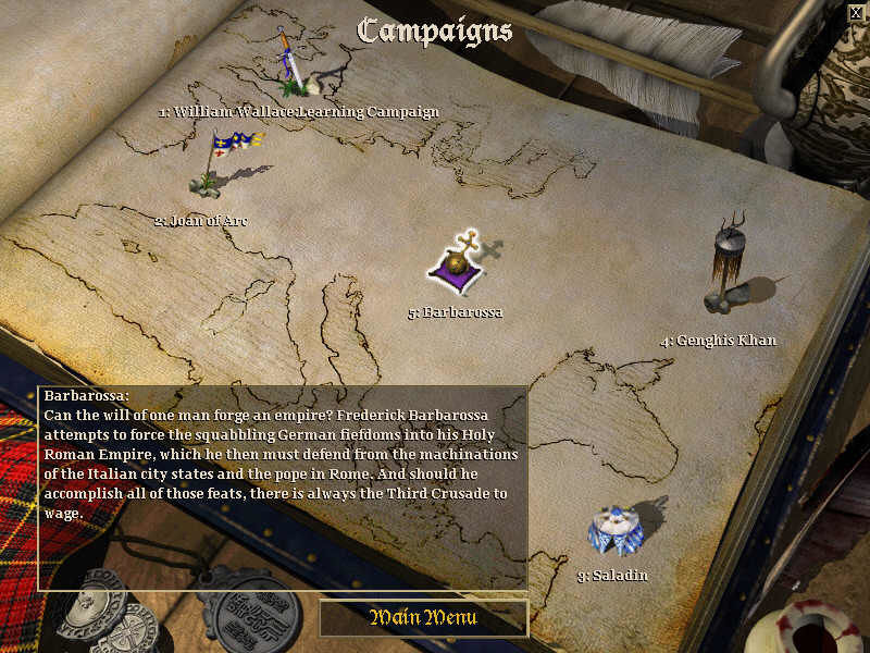 Age of Empires II: The Age of Kings Windows The campaign menu