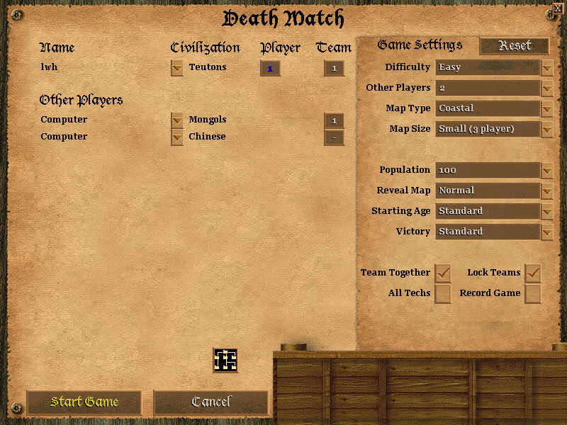 Age of Empires II: The Age of Kings Windows Deathmatch options screen