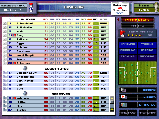 Premier Manager 98 Windows Squad selection screen