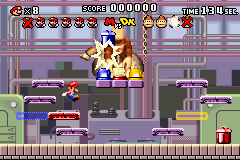 Mario vs. Donkey Kong Game Boy Advance Chucking bins at Donkey Kong is the only way to defeat him
