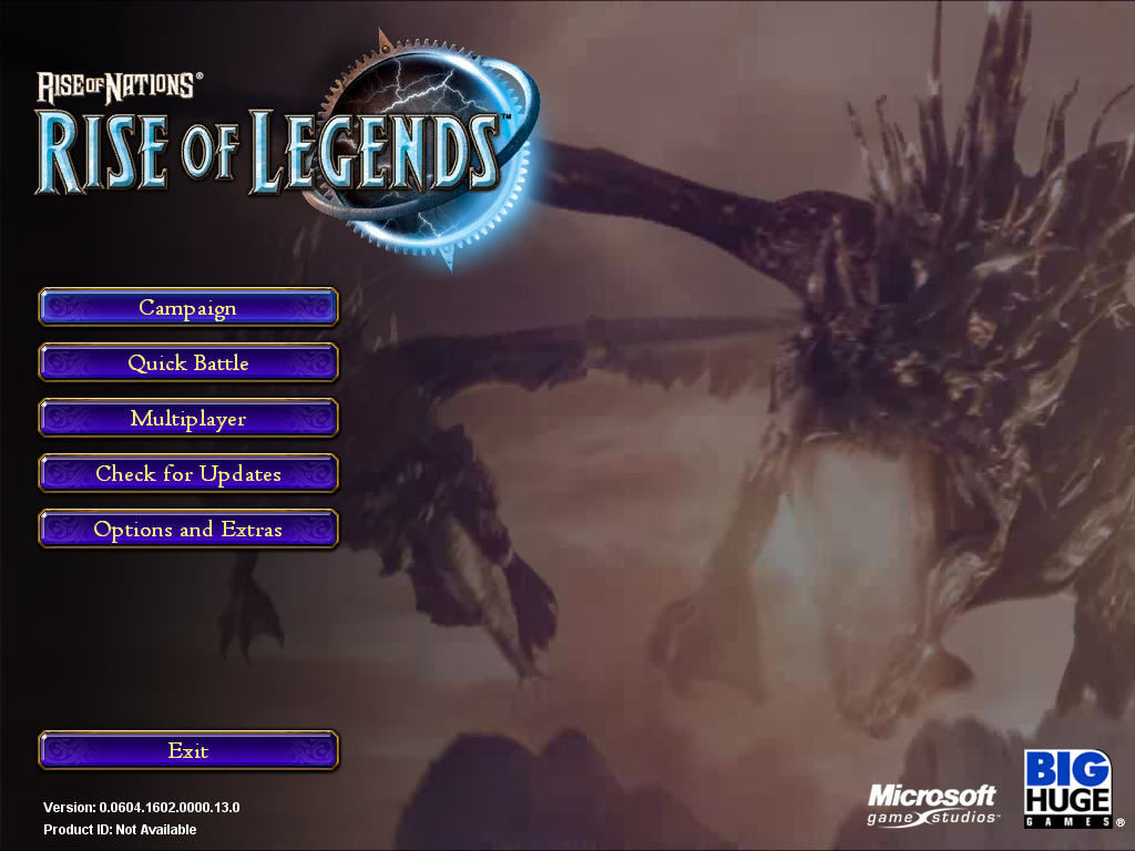 Rise of Nations: Rise of Legends Windows The Main Menu