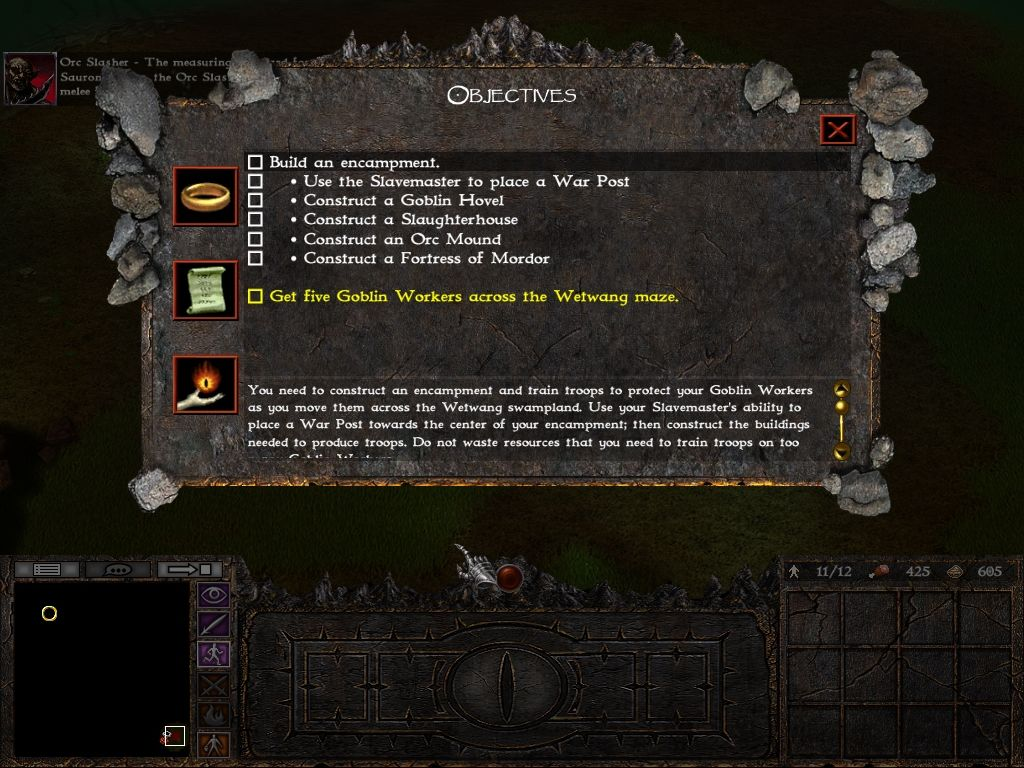 "The Lord of the Rings: War of the Ring Windows First ""evil"" mission objectives."