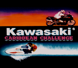 Kawasaki Caribbean Challenge SNES Title screen.