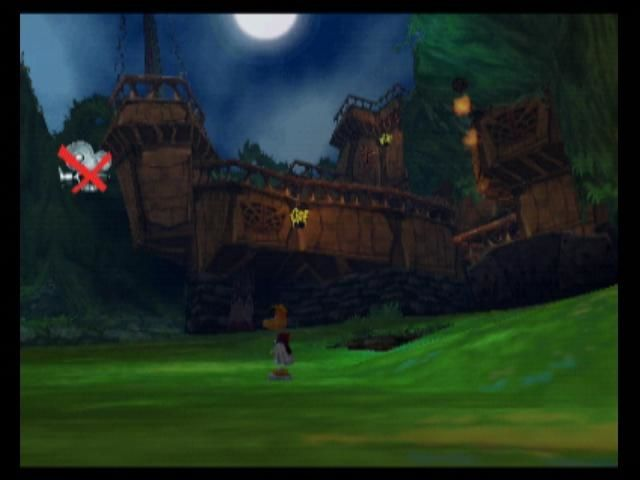 Rayman 2: The Great Escape Nintendo 64 A pirate is taking potshots at Rayman with his cannon