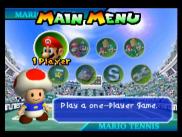 Mario Tennis Nintendo 64 Main Menu
