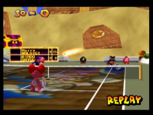 Mario Tennis Nintendo 64 After winning or losing a shot, you can choose to watch a replay