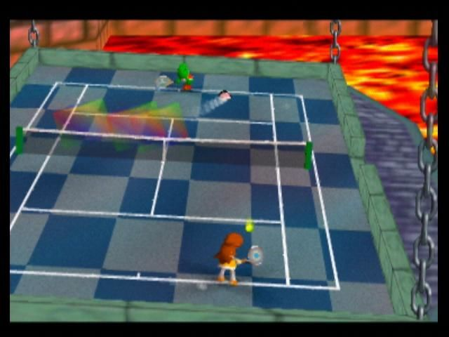 Mario Tennis Nintendo 64 Bowser's court is suspended above lava, and tilts!
