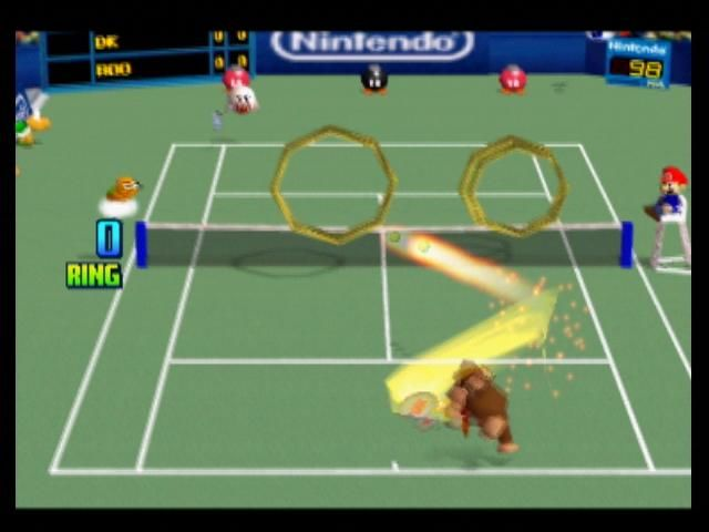 Mario Tennis Nintendo 64 Ring Shot requires you to hit through as many rings as possible, then win the shot to add them to your total