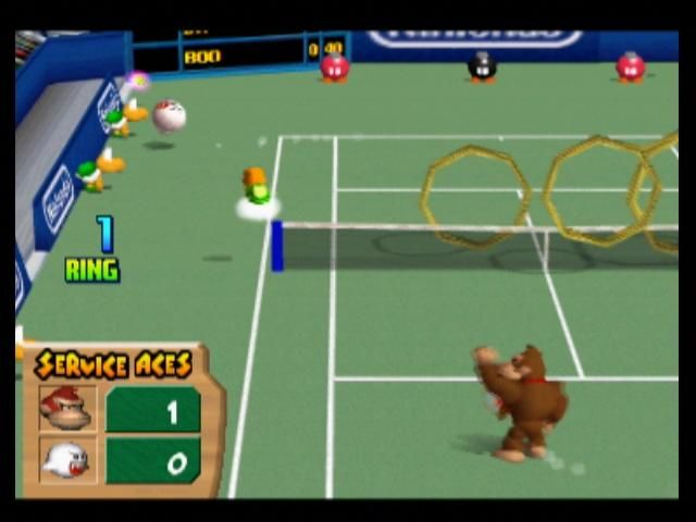 Mario Tennis Nintendo 64 Quick shots like service aces are not the best for Ring Shot, as you don't get many rings