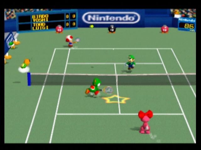Mario Tennis Nintendo 64 If you hit your shot while in the star, your return will be more powerful