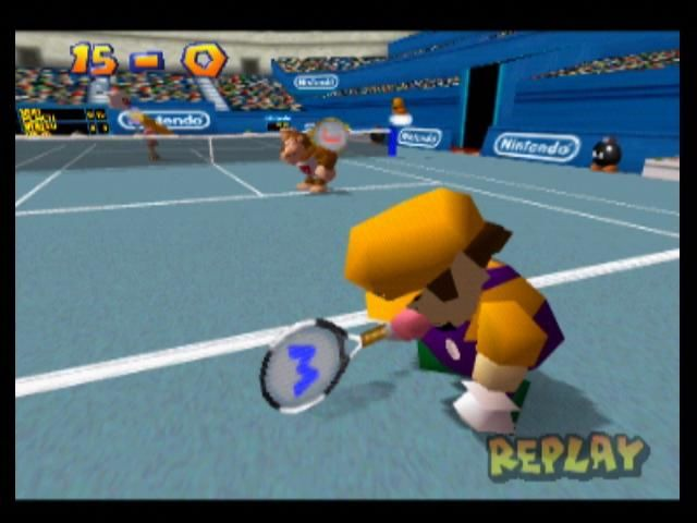 Mario Tennis Nintendo 64 Wario is disappointed with the result