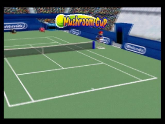 Mario Tennis Nintendo 64 The camera pans around the court for the Mushroom Cup