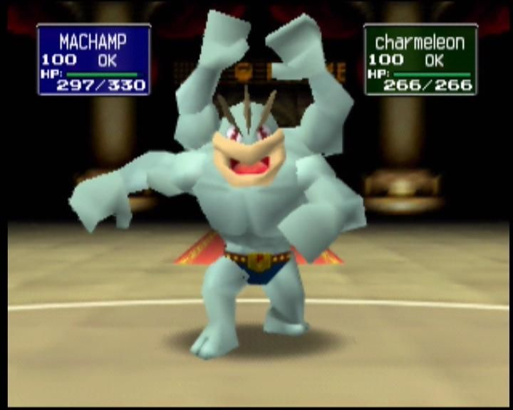 Pokémon Stadium Nintendo 64 Machamp recovers from a hit